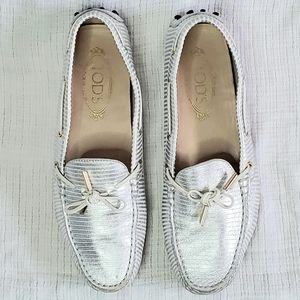 TOD'S Gommino Driving Shoes Loafers Silver Stripe